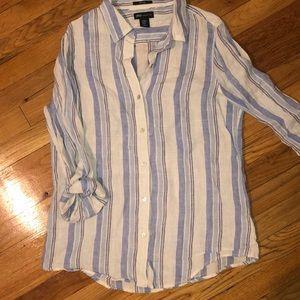 Blue striped linens top